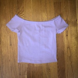 Purple off the shoulder cropped tank